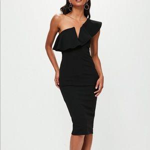 black one shoulder ruffle midi dress